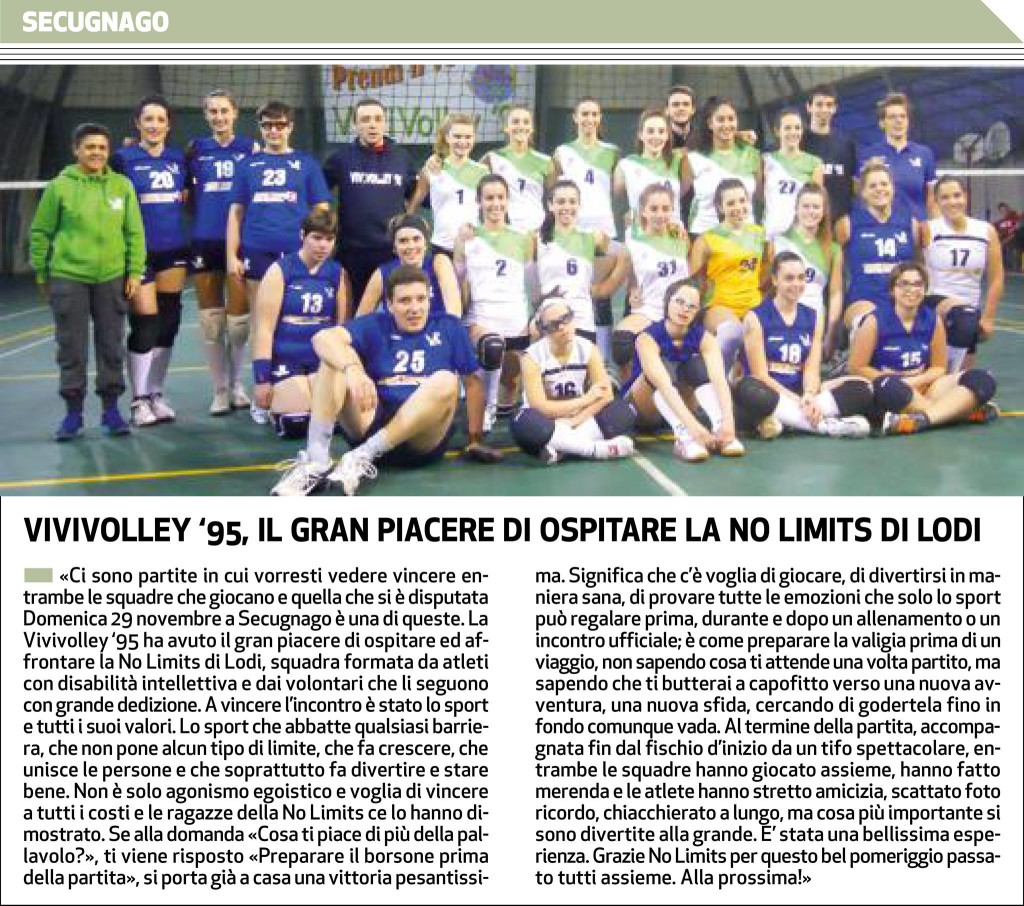 """Articolo Il Cittadino """"Vivivolley VS No Limits"""""""