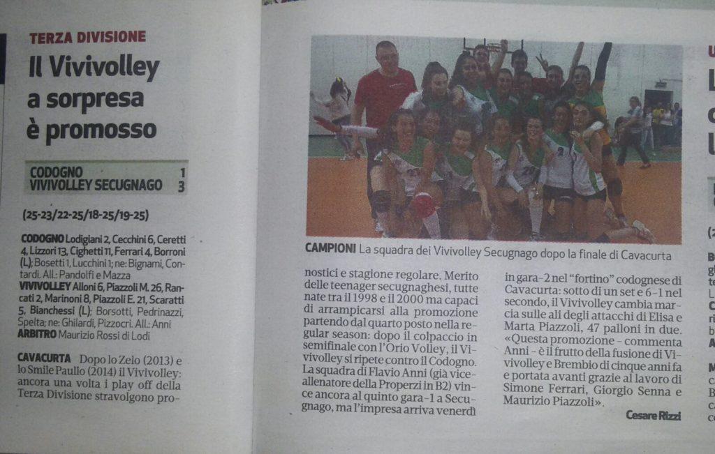 """Articolo da """"Il Cittadino"""" Vivivolley '95 Promozione della 3 divisione"""